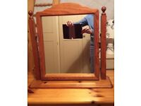 Pine mirror to stand on dressing table or chest of drawers.