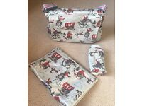 Cath Kidston Changing / nappy bag - oil cloth cowboys grey, mat and bottle bag. Unwanted gift.