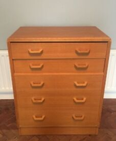 MID-CENTURY RETRO VINTAGE G PLAN GOMME GRANGE RANGE CHEST OF FIVE DRAWERS