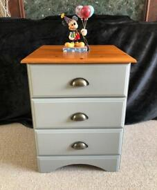 Beautiful Drawer Set. Wood finish with Grey Chalk Paint. Matching items available