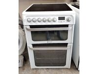 6 MONTHS WARRANTY Hotpoint HUE62 AA energy rated, double oven electric cooker FREE DELIVERY