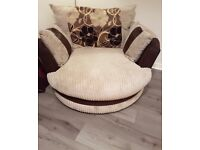3 seater corner couch, large twister chair and half moon footstool