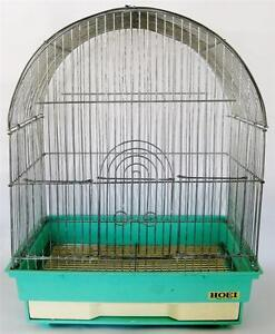 Vintage-Metal-Bird-Cage-Blue-Green-Base-Hoei-Japan-Pull-Out-Tray-4-Entrances