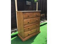 Pine chest of drawers solid planked pine