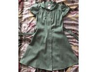 Girls uniform green check summer dress 7-8 years
