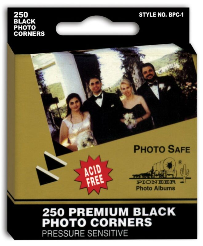 5 Boxes of 250 Pioneer Self Adhesive Black Photo Corners BPC-1