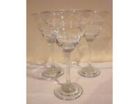 Contemporary large/tall stemmed glasses x 3 - for drinks and/or desserts. £2 the lot