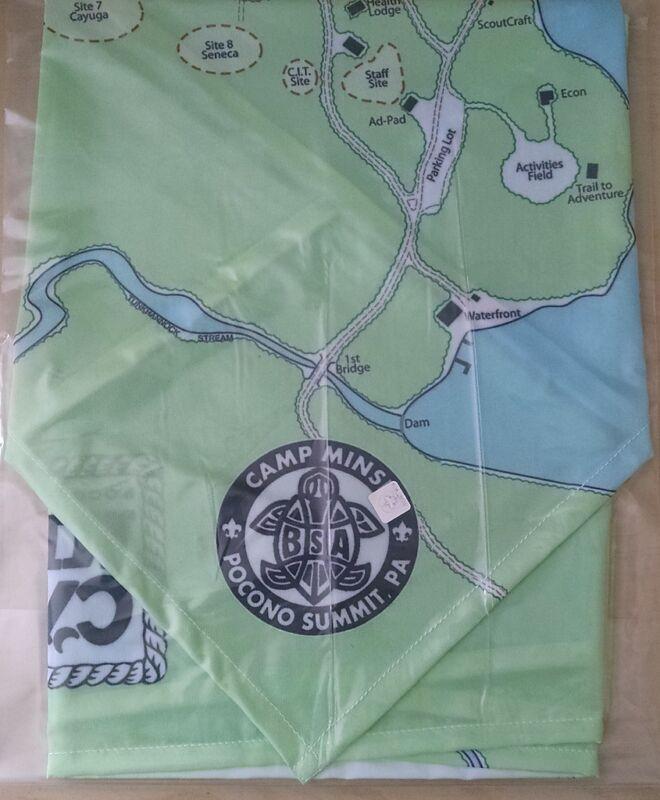 Camp Minsi Neckerchief map Minsi Trails Council Boy Scout Pocono Summit PA