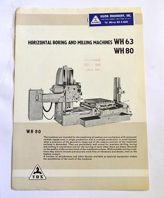 Sigma Machinery Wh63wh80 Horizontal Boring Milling Machine Brochure