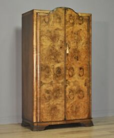 Small Vintage Art Deco Burr Walnut Fitted Double Wardrobe Tallboy Armoire