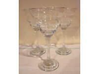 Contemporary large/tall stemmed glasses x 3 - for drinks and/or desserts. £2 the lot.