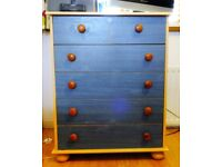 CHEST OF DRAWERS BLUE FRONT DRAWERS and WOOD SURROUND