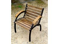 GARDEN FURNITURE / SHABBY CHIC CRAFTSMAN MADE GARDEN CHAIR ANTIQUE OAK SLATS AND ARMS METAL FRAME