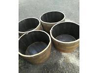 Recycled oak barrel planters