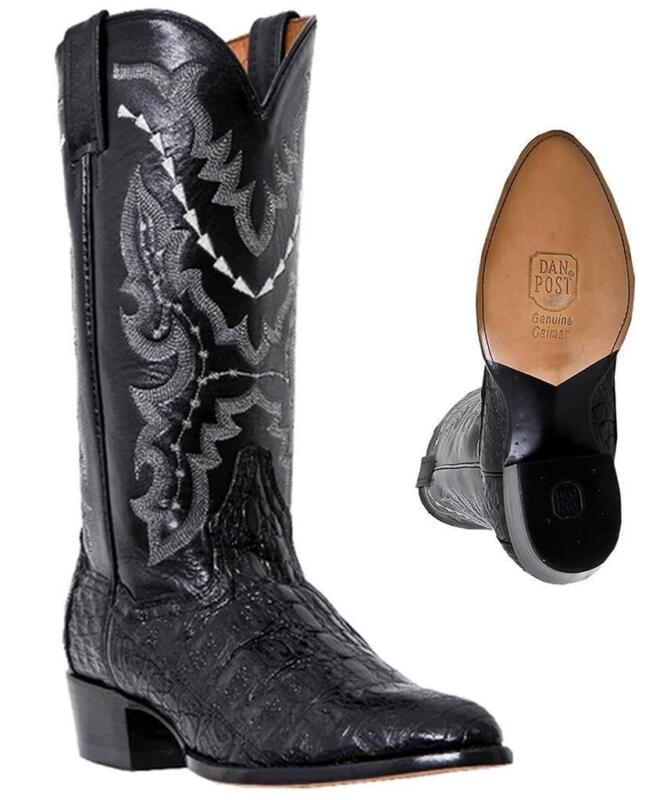 Dan, Post, Mens, Black, Cowboy, Boots, Size, 9.0, Genuine, Flank, Caiman, Alligator, BNIB