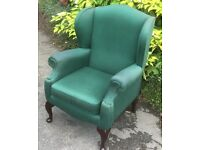 Green fireside chair.