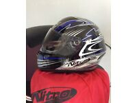 Nitro Motorcycle Bike Helmet with Bag. As New.