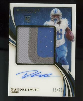 2020 Panini Immaculate RPA D'Andre Swift 36/75 Auto Jumbo Patch RC Rookie