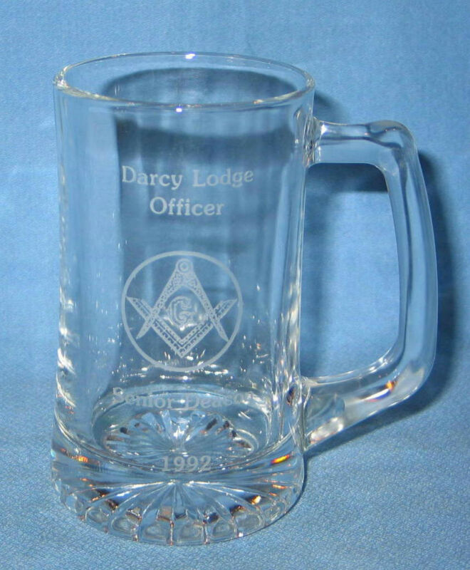 Freemason Masonic Glass Etched Officer Senior Deacon 1992 12 oz Mug