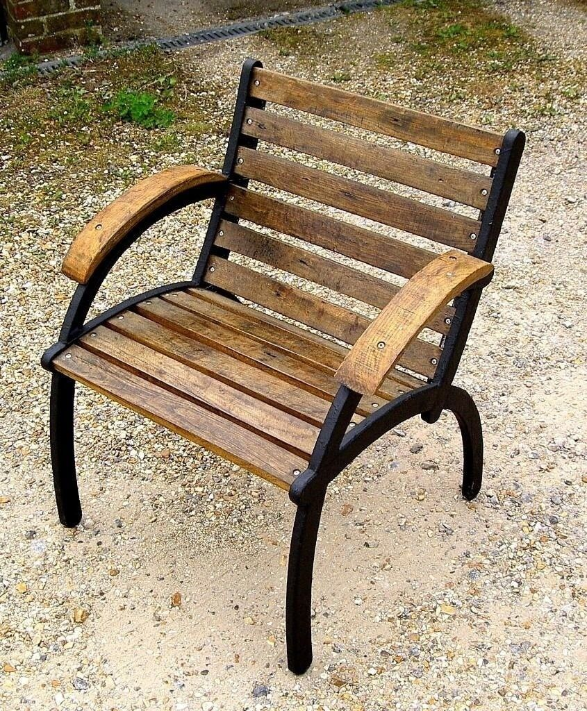 Garden Furniture Shabby Chic Craftsman Made Chair Antique Oak Slats And Arms Metal Frame
