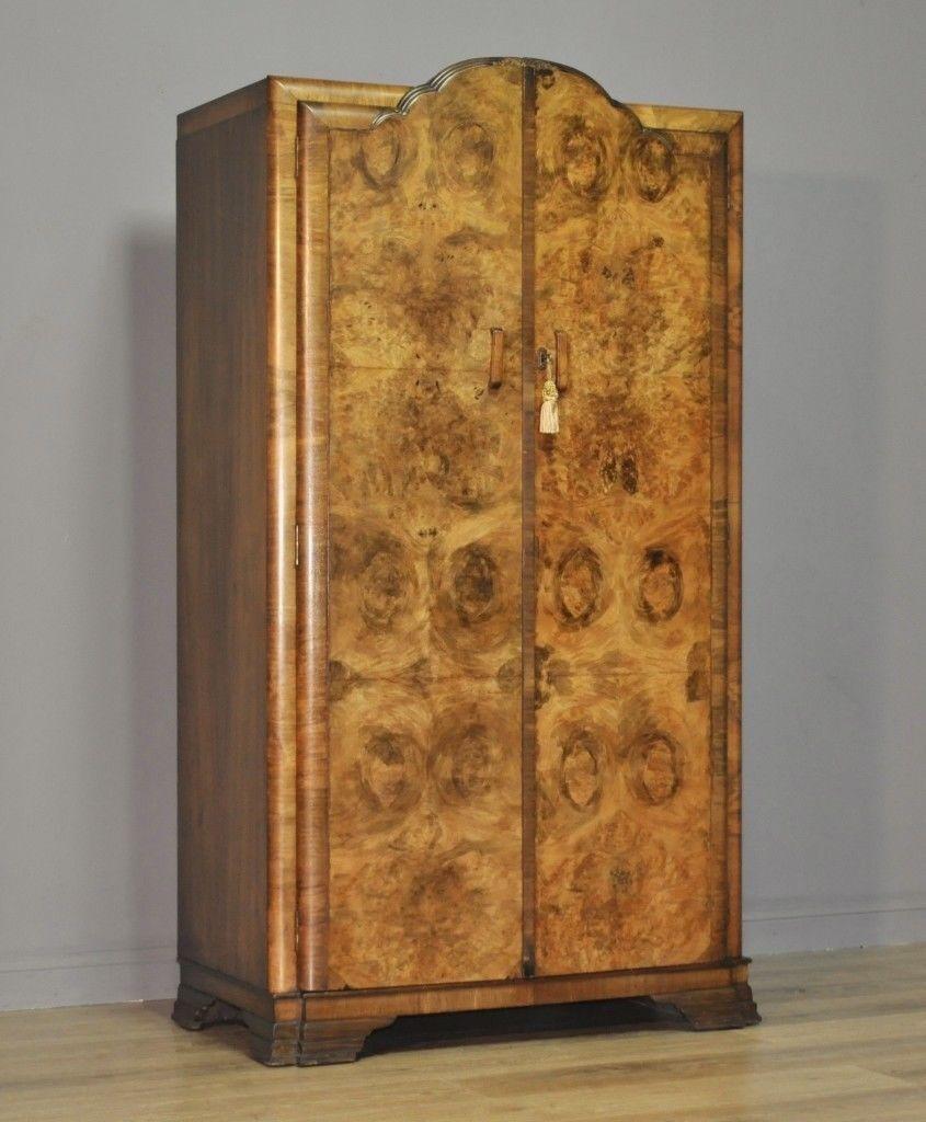small vintage art deco burr walnut fitted double wardrobe. Black Bedroom Furniture Sets. Home Design Ideas
