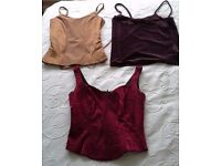 THREE LADIES TOPS,gold,chocolate brown and dark red