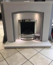 NEW White and sparkly grey Marble Fireplace 48""