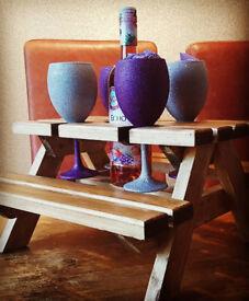 Hand Made wine glass/wine bottle holder mini bench/table