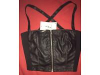 BNWT. Girls Faux leather Crop Tops