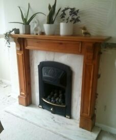 Gas fireplace, Wooden shelf, Marble surround