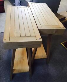 Wooden trestle table legs with drawers