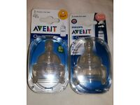 Two packs of Philips Avent Classic bottle teats 0m+ and 3m+