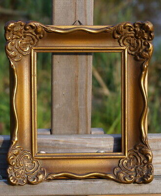 Old Magnificent Frame Stucco Solid Wood 17 x 15 cm Fm 12 x 10 Baroque