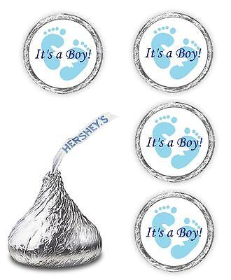 108 ITS A BOY BLUE FOOTPRINTS KISSES LABELS WRAPPER FAVORS FOR BABY SHOWER PARTY