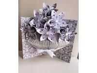 Handmade vase and origami flowers