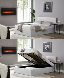 🌈🌈MANY COLOUR OPTIONS🌈🌈DOUBLE LEATHER STORAGE BED FRAME WITH SEMI ORTHOPEDIC MATTRESS -