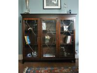 Mahogany book cabinet with glass doors