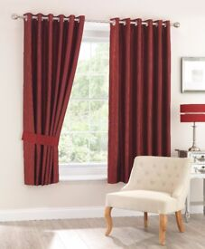 *Brand New* Celine Red Fully Lined Eyelet Curtains, Lots In Stock