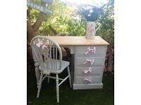Beautiful Pastel Dressing Table & Chair - Pine - Vintage
