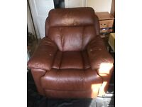 single brown leather recliner chair