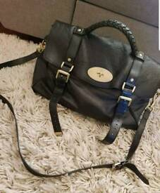 Bleack Mulberry Oversized Alexa with shoulder strap and internal bag liner