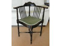 Vintage Mahogany Corner Chair with Upholstered Seat