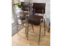 Set of 4 1970s Industrial Vintage High Chairs, PEL, Breakfast Bar stools, Retro Mid Century