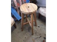 IKEA Wooden Round Top Bar Stool - 10 available