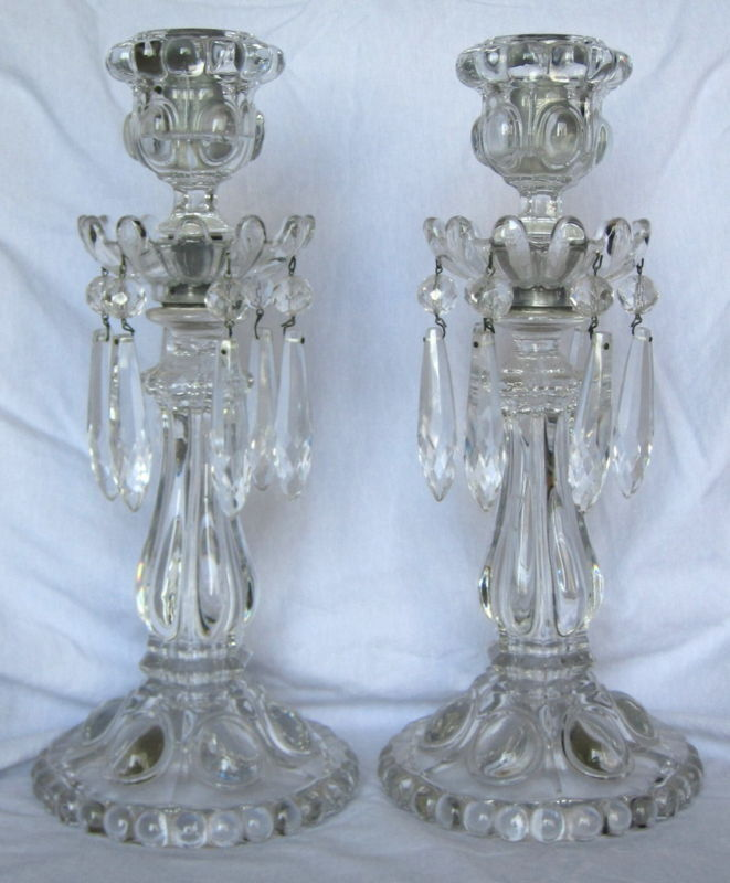 19th Century Baccarat French Art Glass Candlesticks
