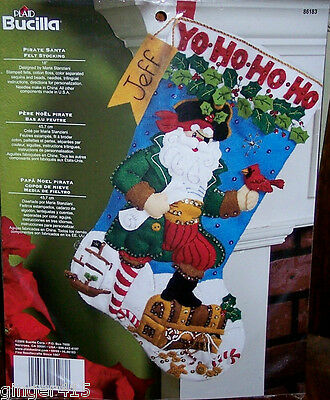 PIRATE SANTA Bucilla Felt CHRISTMAS Stocking Kit OOP Boat Bird Chest 18