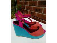 New Three Colour Wedge Sandals - size 3.5