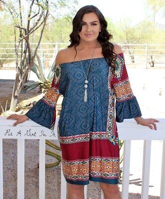 Plus Size Tribal Dress (PLUS SIZE OFF SHOULDER AZTEC BURGUNDY