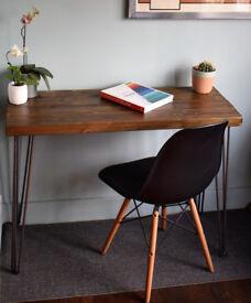Rustic Chestnut Industrial Vintage Style Desk Hairpin legs & Chair