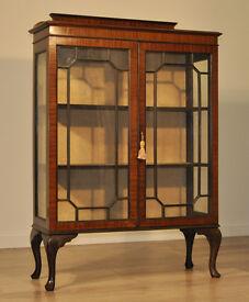 Attractive Large Vintage Mahogany Two Glazed Door Display Cabinet